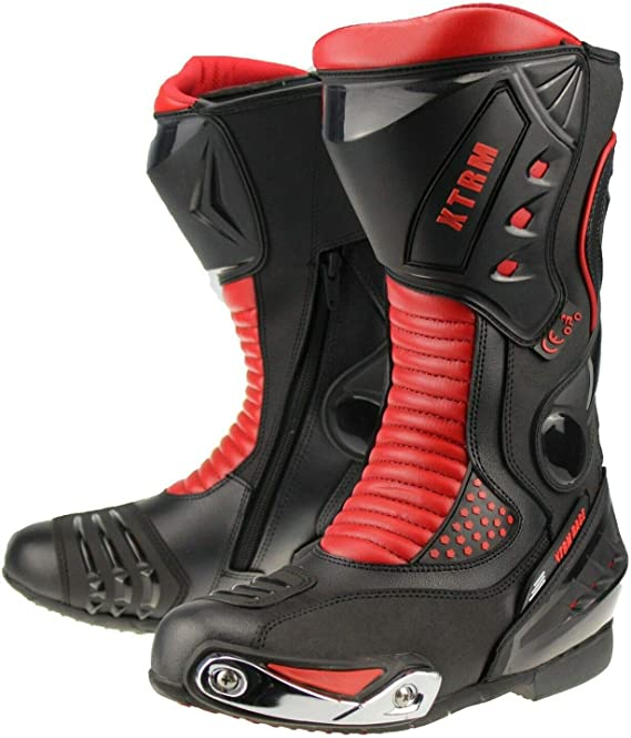 XTRM XT ADULT RACE SPORTS MOTORCYCLE BOOTS Motorbike Scooter Quad Biker Rider Men /& Women On Road Racing Touring Heavy-Duty Armour Protection Long Leather Boots