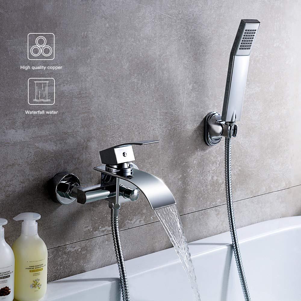 KINSE Badewannenarmatur Wannenbatterie mit Handbrause Wasserhahn fü r Badezimmer Chrom