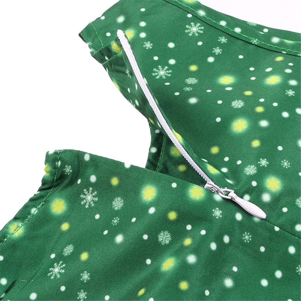 Dinlong Girls Summer Dress Snowflake Printed Cartoon Fawn Pleated Dress Sleeveless Party Dress