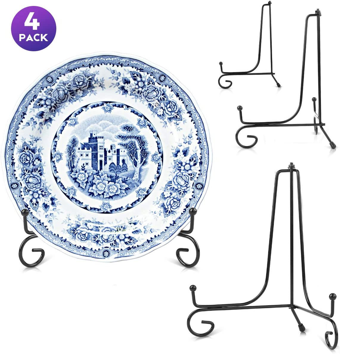 [Anti-Slip Upgraded ] 8'' Plate Iron Display Stand Set of 4 Packs - Easels for Display Picture Frames, Cook Books, Decorative Plates, Art and More (8'')