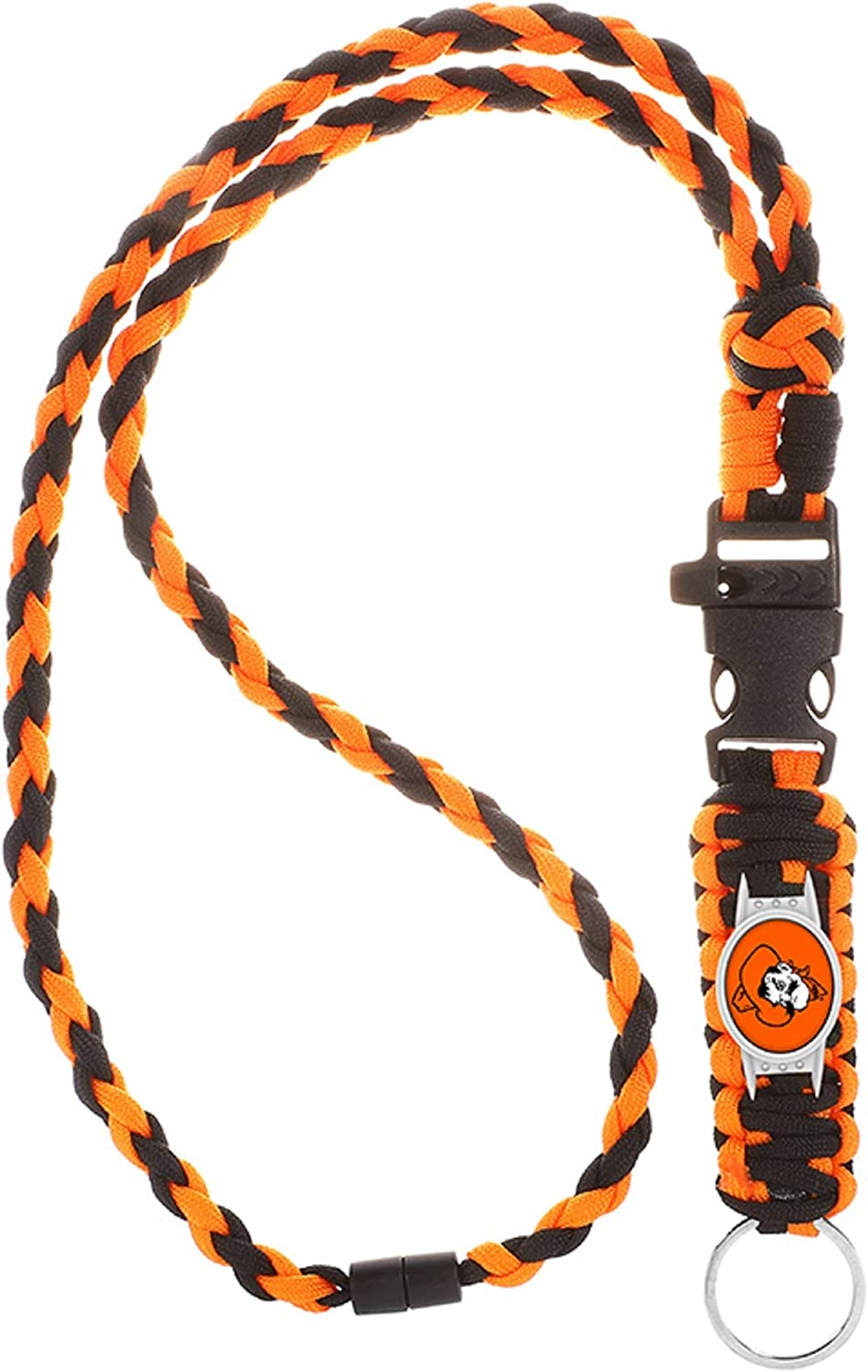 Swamp Fox Oklahoma State Cowboys Paracord Lanyard with Team Charm Neck Clasp and Keychain Release/…