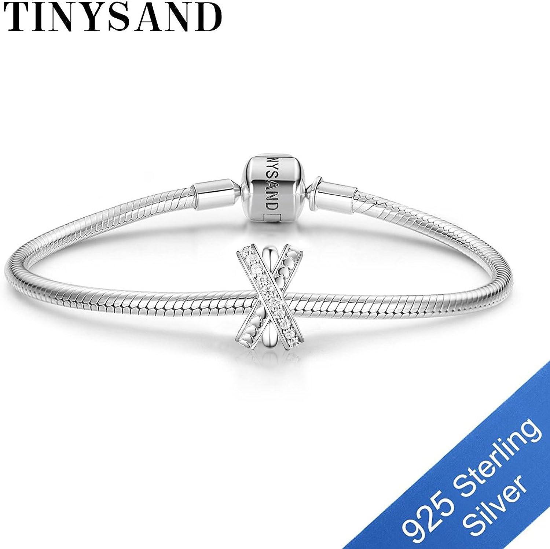TINYSAND Charms de Perle nouveaute en Pur Argent 925 Sterling,breloque forme mot X pave zircon AAA brillant,compatible avec bracelet Europpenne