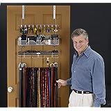 Menu0027s Over The Door/Wall Belt Tie Valet Organizer   SILVER Powder Coat    High