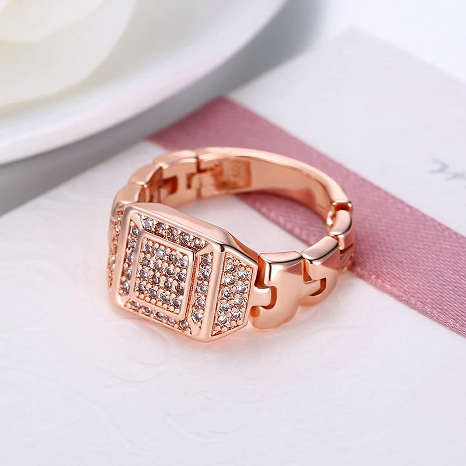 Amazon.com: AMDXD Gold Plated Wedding Rings for Women Square ...