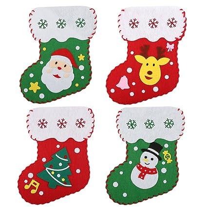 Amazon Com Tiddy 4pcs Diy Felt Christmas Stockings Hanging