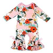 Slowera Baby Girls Flower Romper Long Sleeve Ruffles Leisure Wear (Pink,2XS:6 Months)