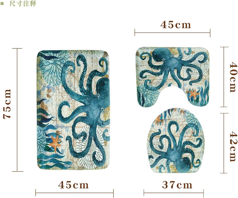 Gnzoe Flannel Bath Rug//Bath Rug Set Octopus Pattern Blue Octopus-YL12962