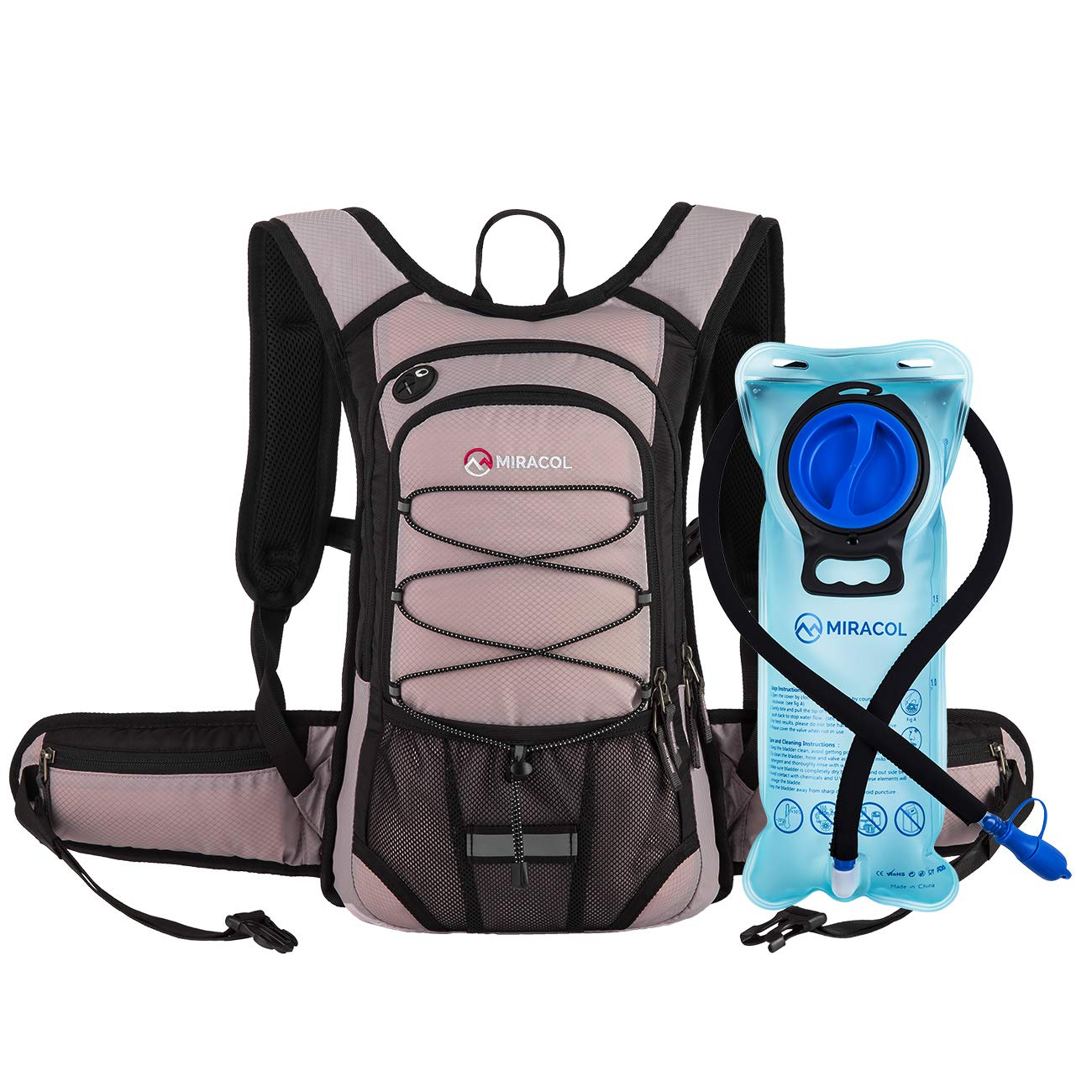 MIRACOL Hydration Backpack with 2L BPA Free Water Bladder, Thermal Insulation Pack Keeps Liquid Cool up to 4 Hours, Perfect Outdoor Gear for Hiking, Cycling, Camping, Running (Pastel Violet)