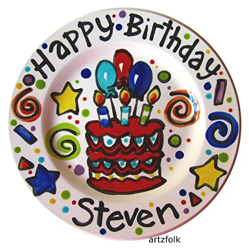 7u0026quot; handmade custom ceramic personalized happy birthday cake plate celebration  sc 1 st  Amazon.com : personalized ceramic birthday plates - pezcame.com