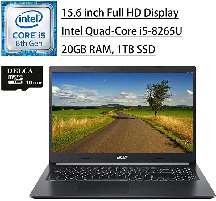 "Acer Aspire 5 2020 Newest Gaming Business Laptop I 15"" FHD Display I 8th Gen Intel Quad-Core i5-8265U (>i7-7500U) I 20GB DDR4 1TB SSD I 2GB GeForce MX250 Backlit KB Win 10 + Delca 16GB Micro SD Card"