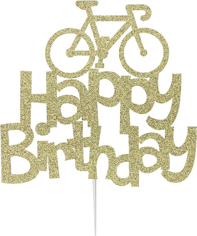 LissieLou - Decoración para tarta, diseño de bicicleta con purpurina: Amazon.es: Hogar