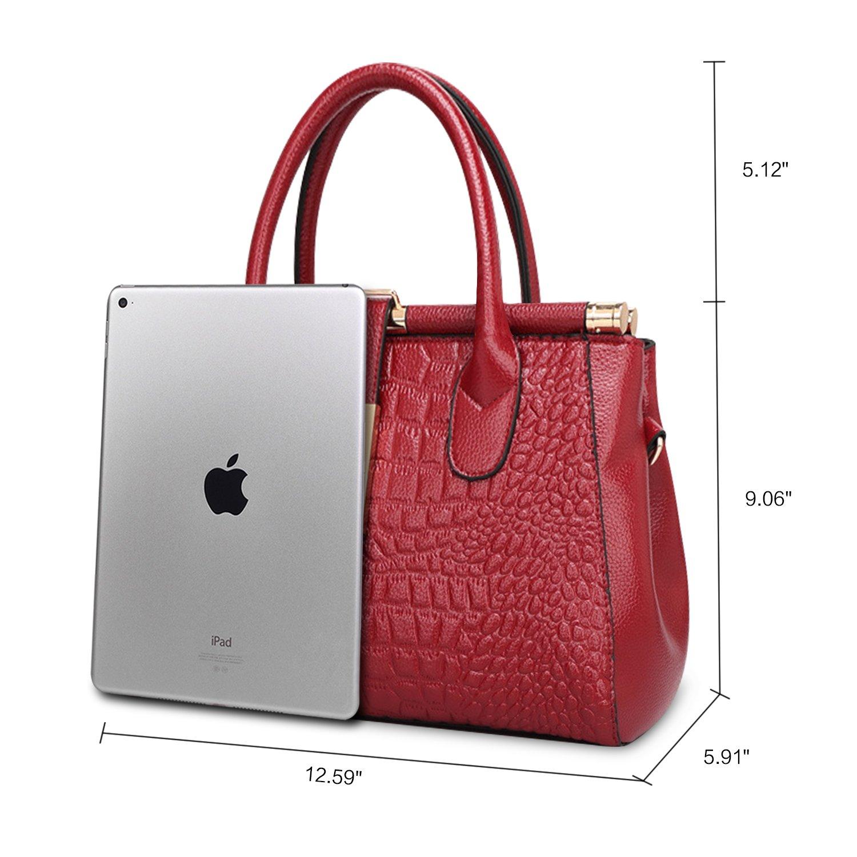ZZSY bolso para cocodrilo relieve Rojo mano de estilo de con Bolso wxZBzq44