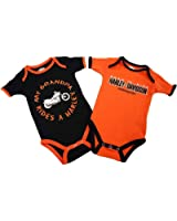 Harley-Davidson Boys Baby Twin Pack Creeper My Grandpa Rides a Harley Orange
