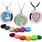 3PCS Aromatherapy Essential Oil Diffuser Locket Pandent Necklaces Mixed Style Tree of Life-Reindeer-Celtic Perfume Jewelry with Cross/Snake Chain & Waxed Rope+12 Color Felt Pads