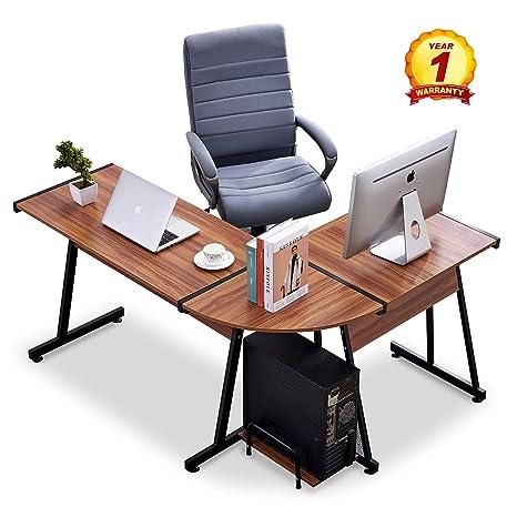 Amazon.com: Mcombo esquina en forma de L escritorio ...