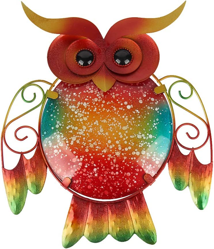HONGLAND Metal Owl Wall Decor Indoor Wall Art Sculpture Outdoor Hanging Glass Decorations for Home Garden Bedroom