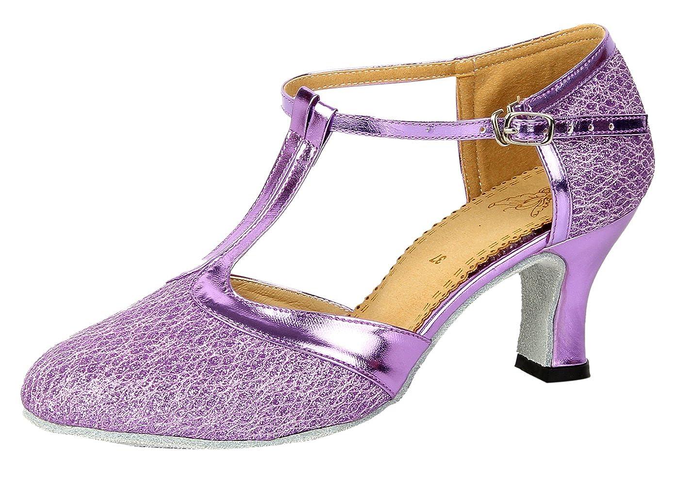 Honeystore Femme Chaussures de Danse Bout Ferm¨¦ Lani¨¨re en T Scintillant