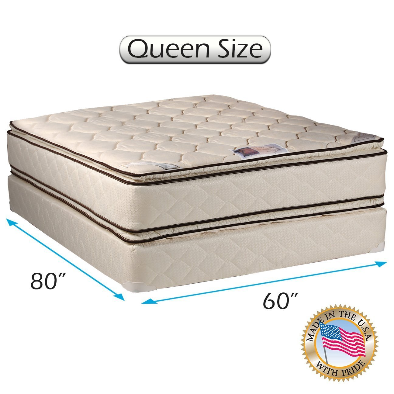 amazon com coil comfort pillowtop queen size mattress and box