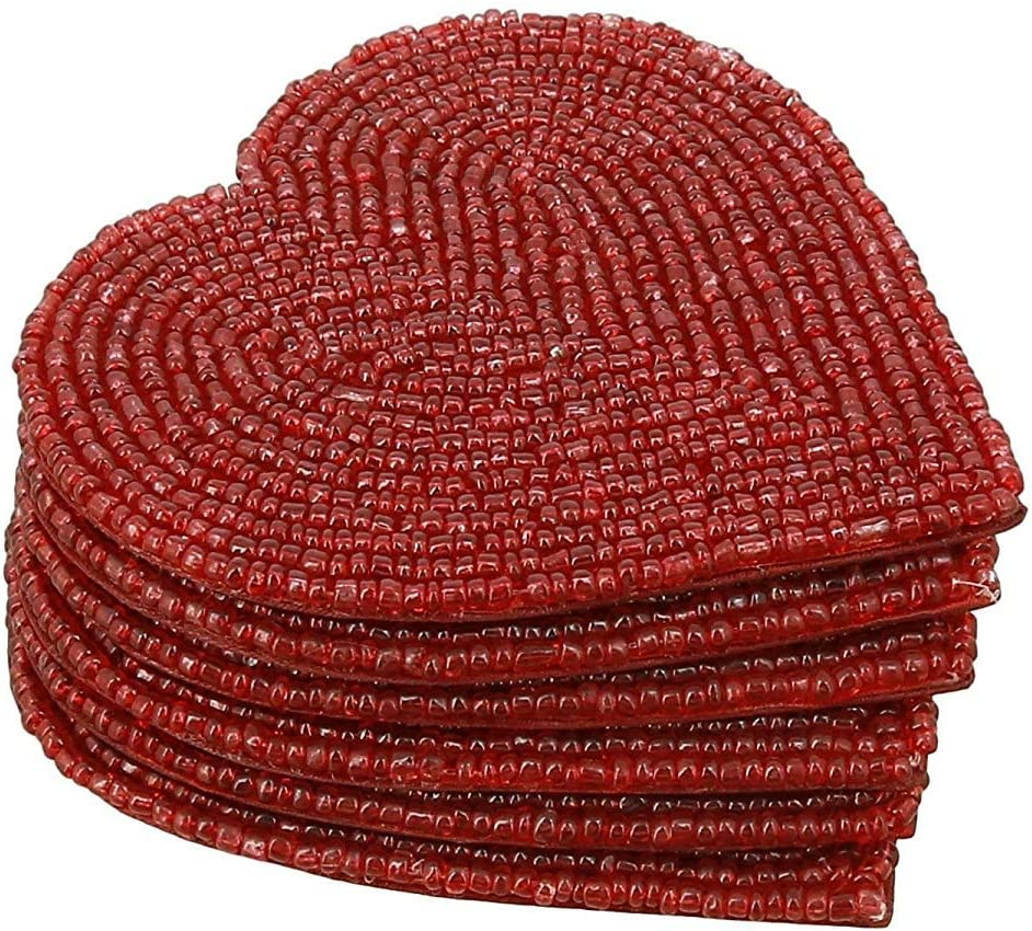 Handcrafted Beaded Heart Coaster Set With 6 Red, 4