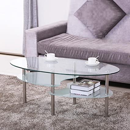 Amazoncom Yaheetech Tier Modern Living Room Oval Glass Coffee - Round glass coffee table with chrome legs