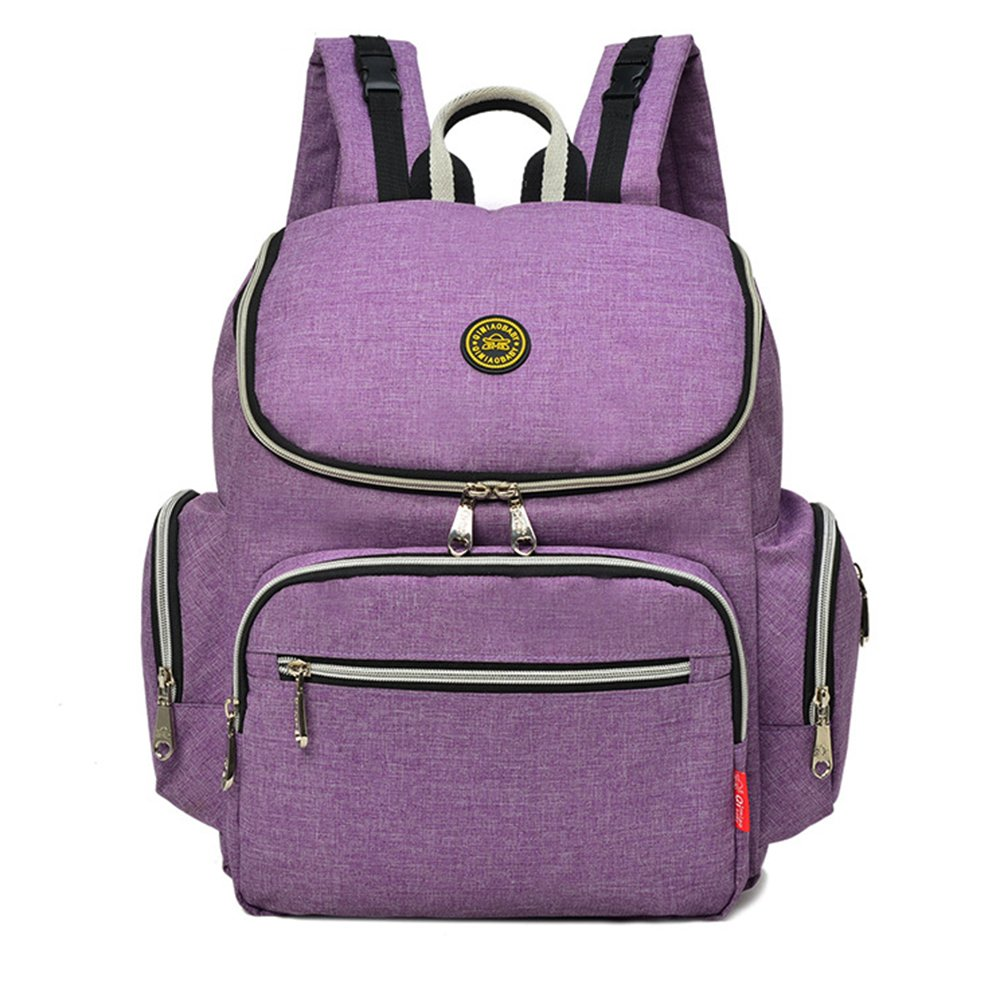 Waterproof Canvas Momy Diaper Backpack Anti-theft Fit Stroller with Changing Pad for Mom Dad (LAVENDER)