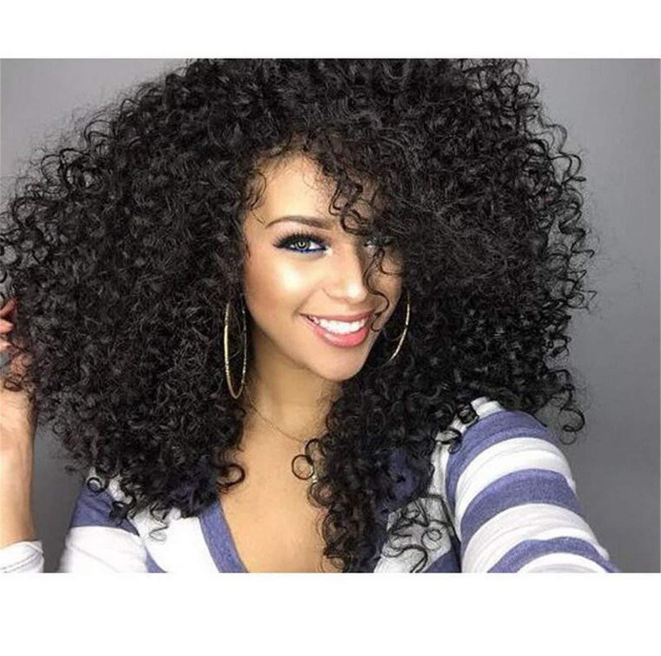 Cool2day - peluca afro ensortijada de cabello sintético, largo, rizado. Pelucas ensortijadas, baratas para mujeres negras, peluca femenina afroamericana de ...