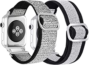 Watbro Compatible with Elastic Apple Watch Band 38MM/40MM Adjustable Stretchy Loop Band iWatch Series 5/4/3/2/1 Adjustable Stretch Elastics Boho/Aztec Style Band 38MM/40MM