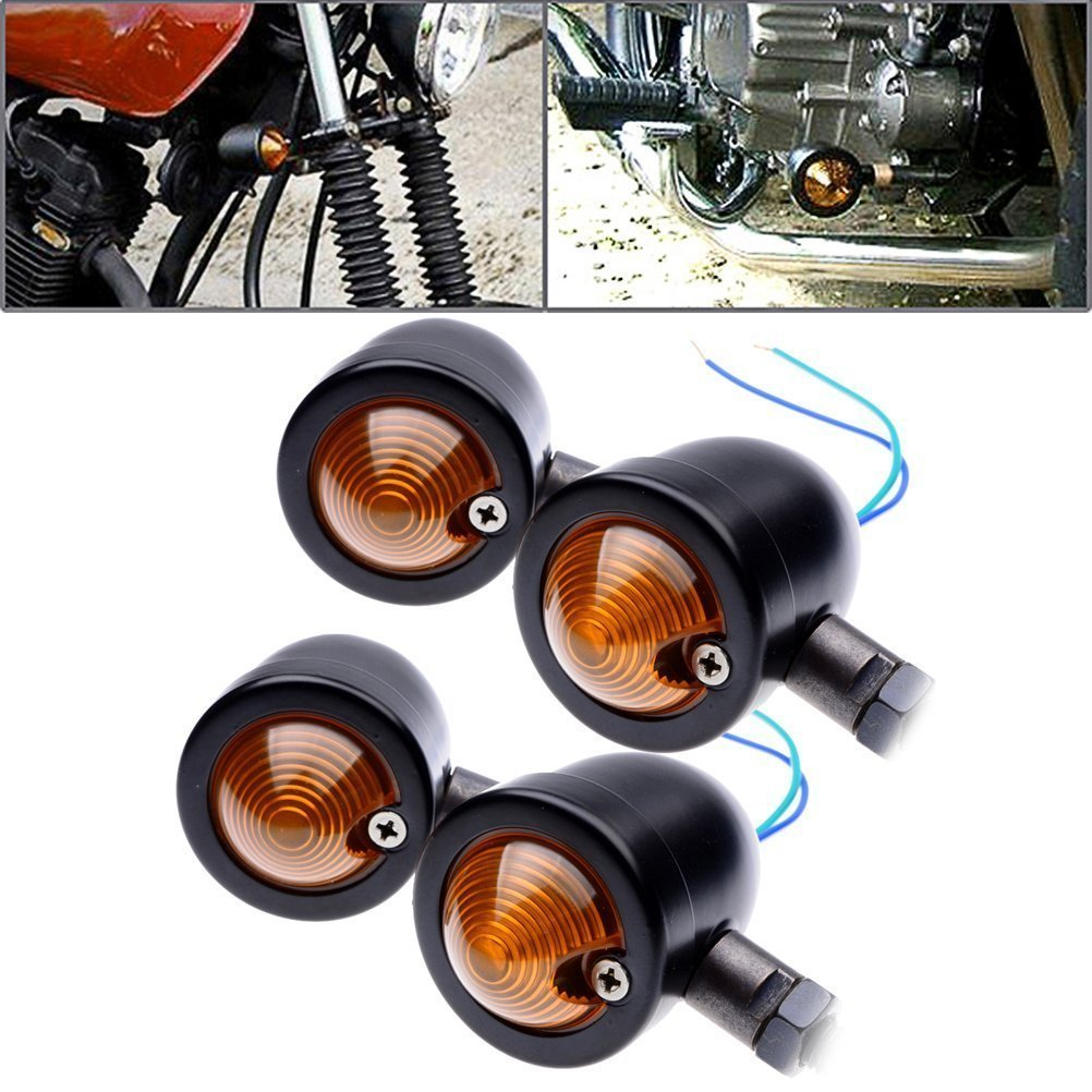 YC 4x Motorcycle Turn Signals Light Bulb Indicators Blinkers Custom Black Anodized Billet Aluminum Bullet Shape