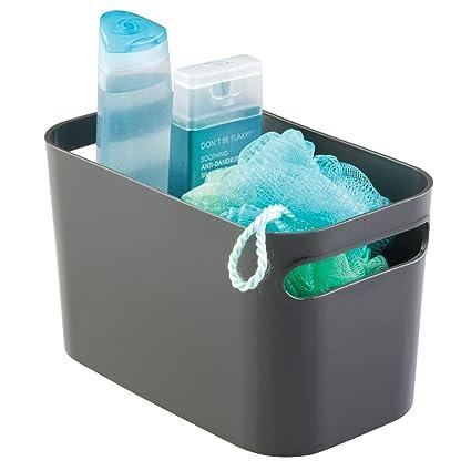 InterDesign Una Organizador plástico, cesta de almacenaje pequeña para hogar y hobbies, gris pizarra