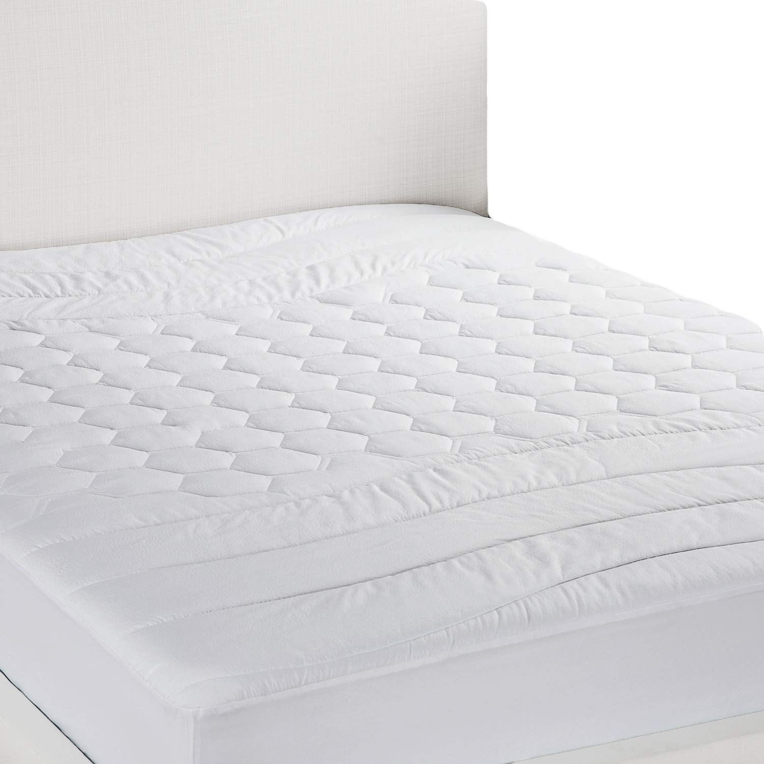 Bedsure Mattress Pad Twin XL/Twin Extra Long Size Hypoallergenic - Antibacterial, Breathable - Ultra Soft Quilted Mattress Protector, Fitted Sheet Mattress Cover White