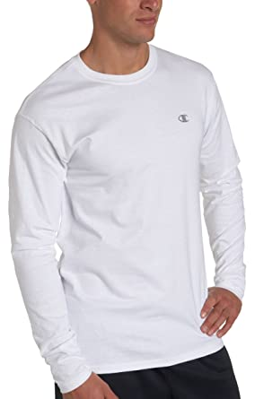 Champion Cotton Jersey Long-Sleeve Mens T Shirt T2228 - White - M ...