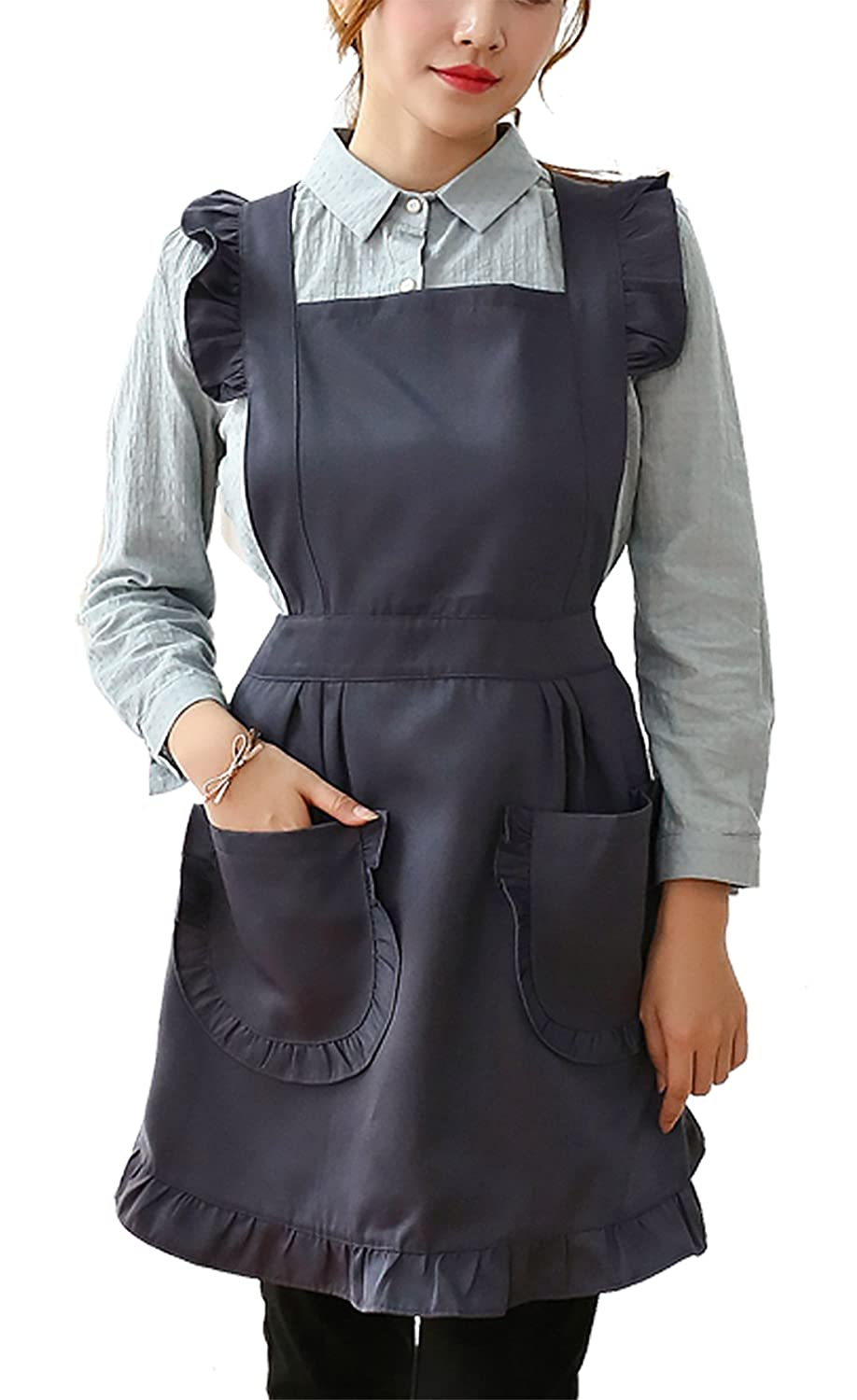 FEOYA Women Cooking Apron Waterproof Fashionable Breathable Dirt Proof Apron for Kitchen Restaurant Gardening - Black