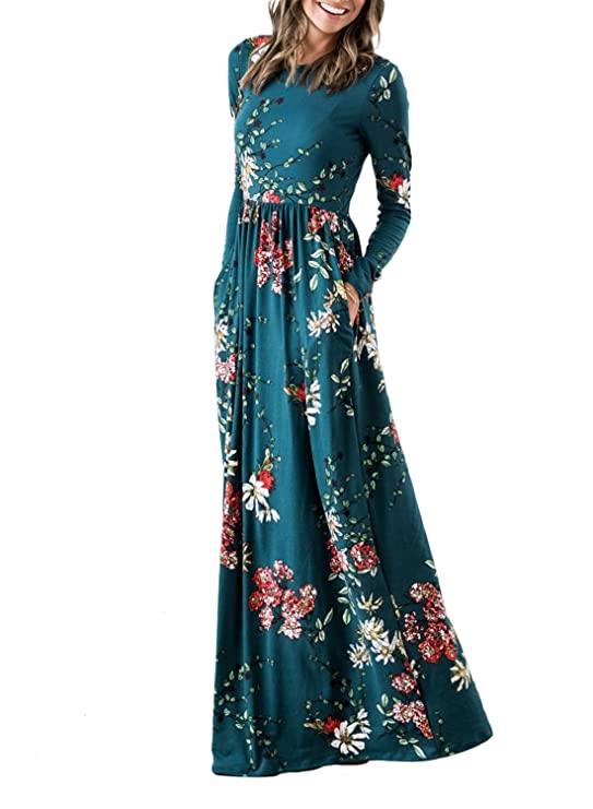 ZESICA Women's Floral Print Long Sleeve Pockets Empire Waist Pleated Long Maxi Dress Teal X-Large
