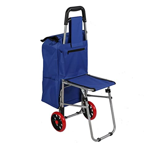 8141531cb455 Lucky Tree Folding Shopping Cart with Seat Collapsible Grocery Carts Dolly  with Blue Bag