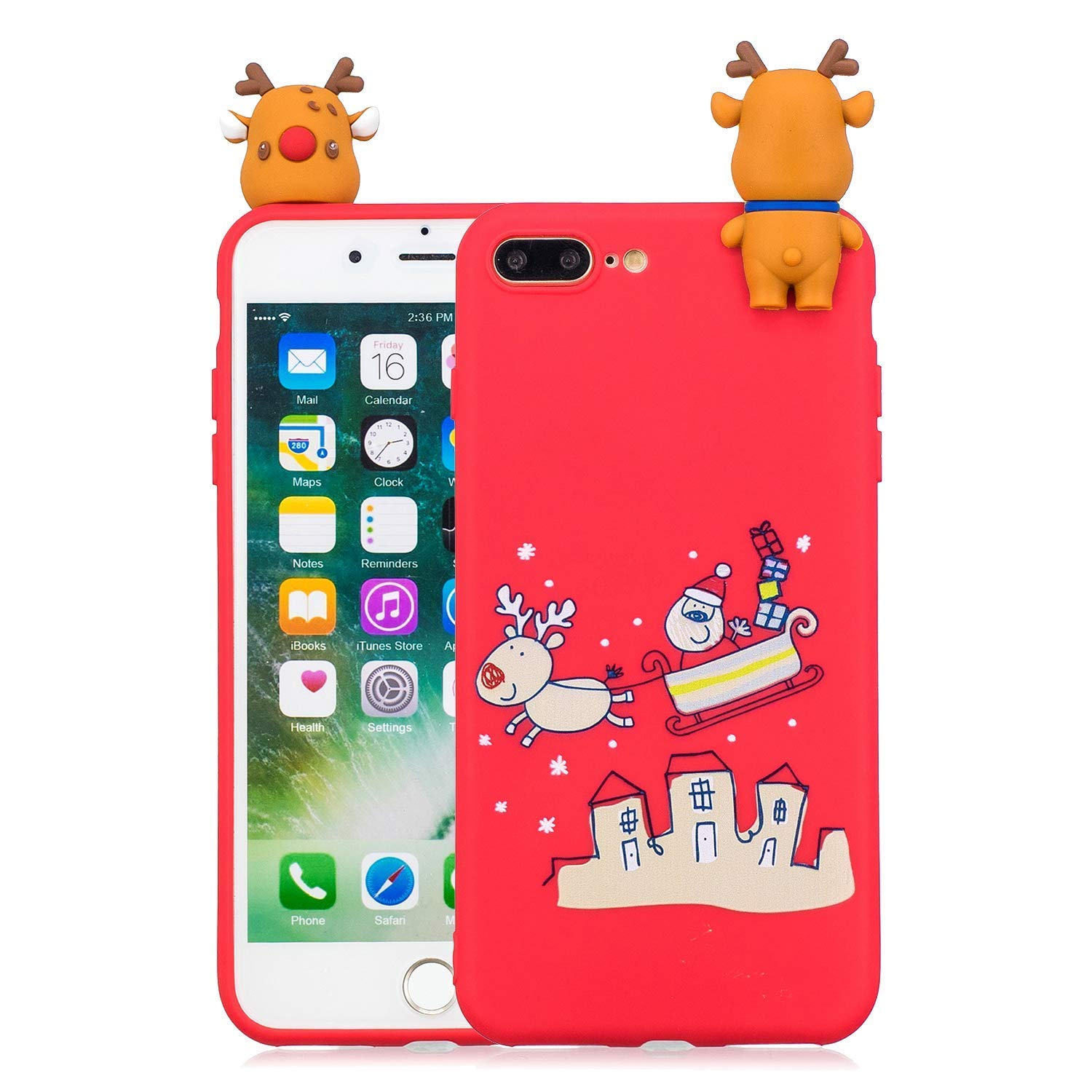 Noë l Coque pour iPhone 8 Plus, É tui Silicone iPhone 7 Plus, iPhone 8 Plus Case Cartoon 3D Mignonne Motif Christmas Noë l Flocon de Neige Housse de Protection Soft Doux TPU Backcover Étui Silicone iPhone 7 Plus Okssud DYY2018002498#05