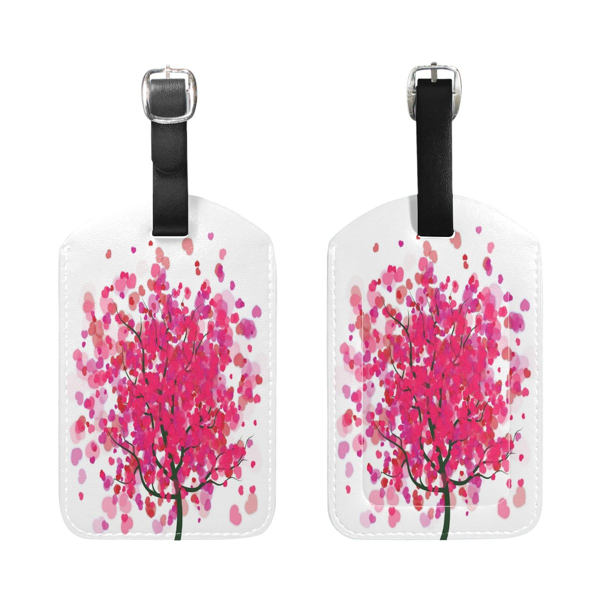 Saobao Travel Luggage Tag Valentines Background PU Leather Baggage Suitcase Travel ID Bag Tag 1Pcs