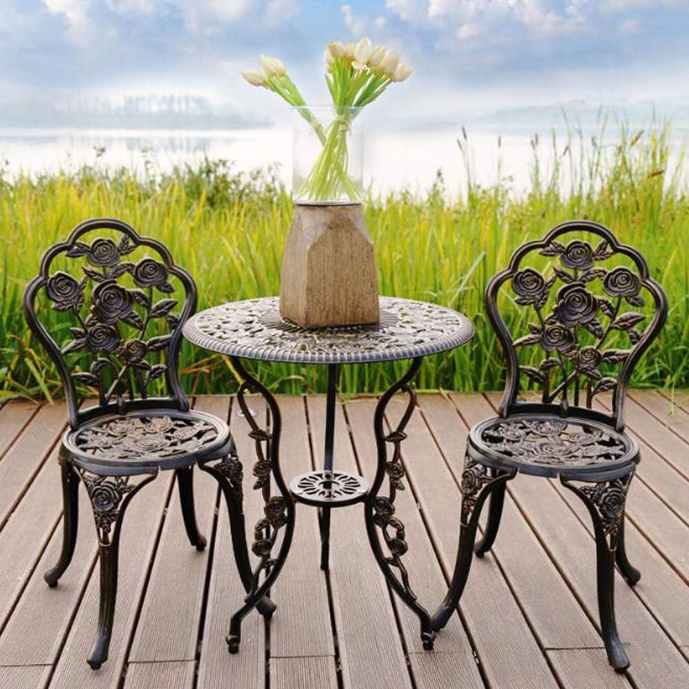 Conjunto de Muebles Exterior Bistro Hierro Mesa + 2 sillas Look Antiguo Muebles para jardín, terraza, balcón