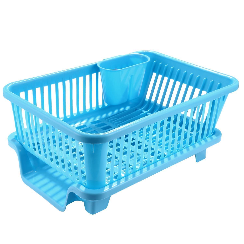 Amazon.com: Kitchen Plastic Dish Drainer Drying Sink Utensil Cutlery ...