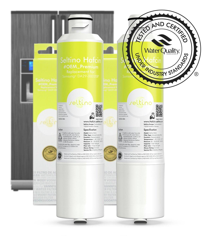 2 x Seltino HAFCIN Premium Water Filter - replacement for Samsung DA29-00020B, HAF-CIN/EXP, HAF-CIN/EXP. Extra capacity. WQA certified.