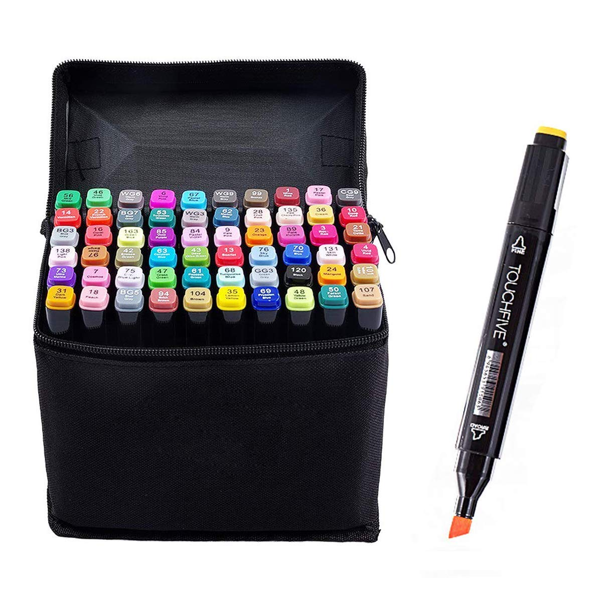 YOULIAN Art Markers Set 60 Colors with Carry Bag,TOUCHFIVE,Dual Tips Coloring Marker Pens for Kid,Manga Marker Pens for Portrait Illustration Drawing Coloring Alcohol Based Art Markers,Black