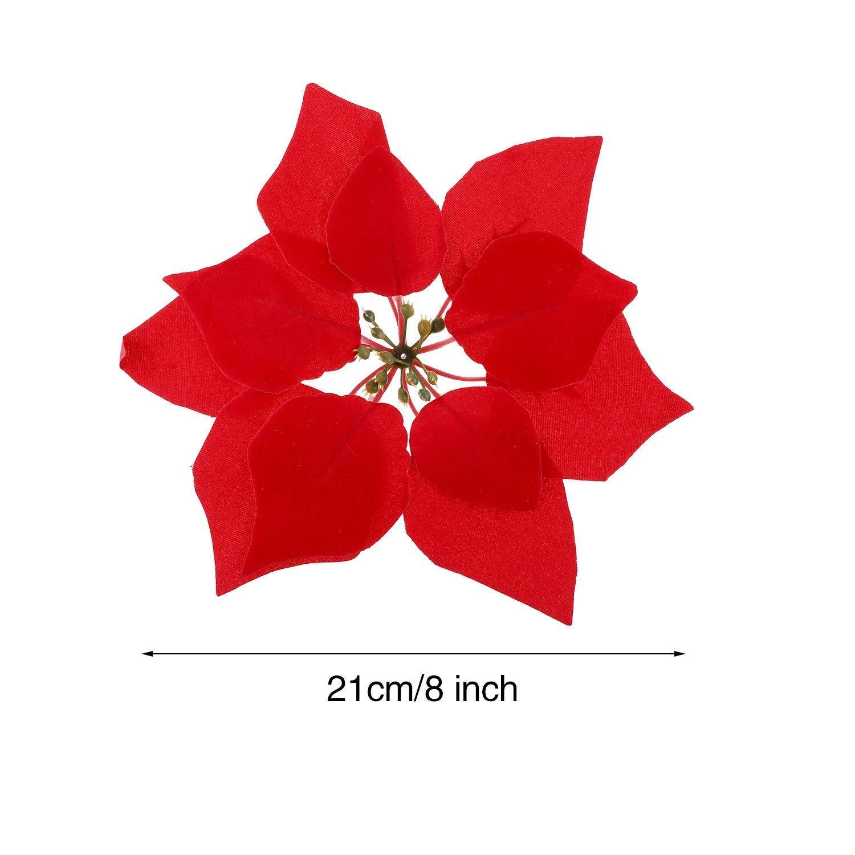 WEKNOWU Lot de 20 Fleurs artificielles de No/ël en Soie Rouge Diam/ètre 20,3 cm