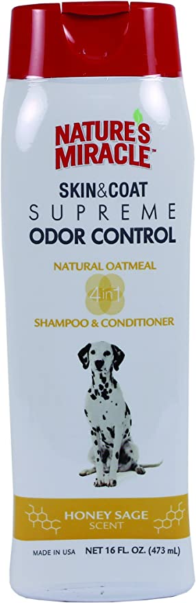 Nature's Miracle Supreme Odor Control Natural Oatmeal Shampoo – Best Dog Shampoo for Odor Control and Coat Cleansing