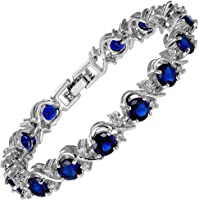 [RIZILIA BLOSSOM] Tennis Bracelet [18cm /7inch] with Round Cut Gemstones CZ [6 Colours available] in 18K White Gold Plated, Simple Modern Elegance