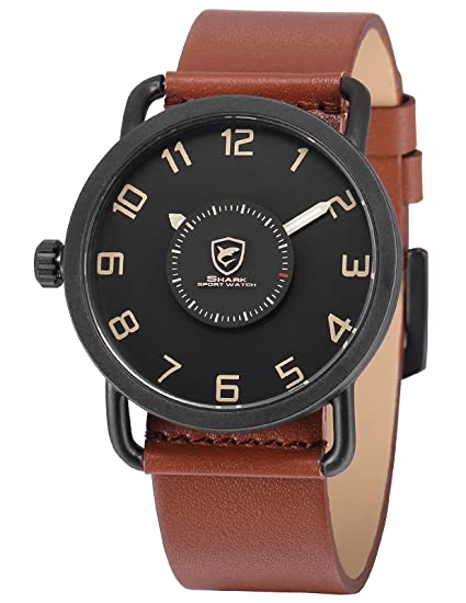 Shark SH523 - Reloj Hombre Cuarzo Analógico de Cuero Marrón, Segundero Giratorio