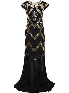 Vijiv 1920s Long Prom Dresses V Neck Beaded Sequin Gatsby Maxi Evening Dress 0b4f02dee