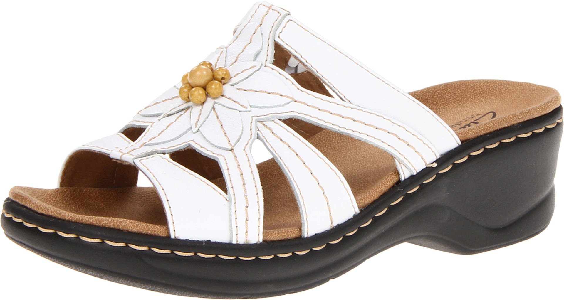 CLARKS Women's Lexi Myrtle Sandal,White,8 W US
