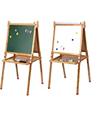 LIVINGbasics Kids Standing Art Easel with Paper Roll - Height Adjustable Chalk Board Magnetic White Board for Kids Painting and Drawing