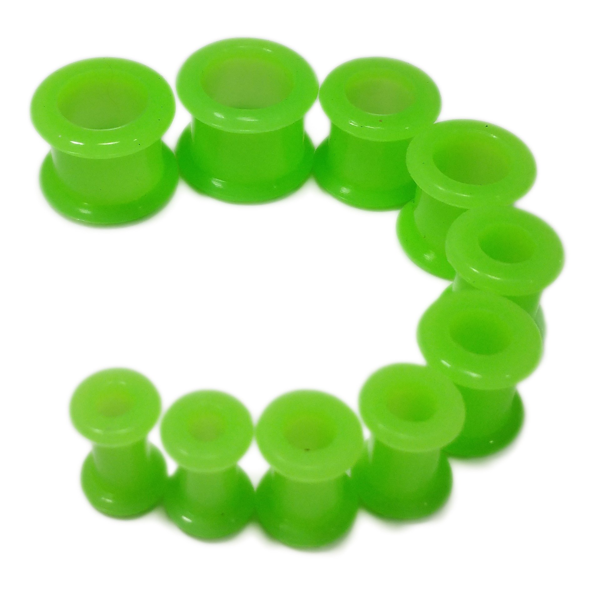 PAIR 12G-1/2'' Green Silicone Tunnels Plugs Guages (2g (6mm))