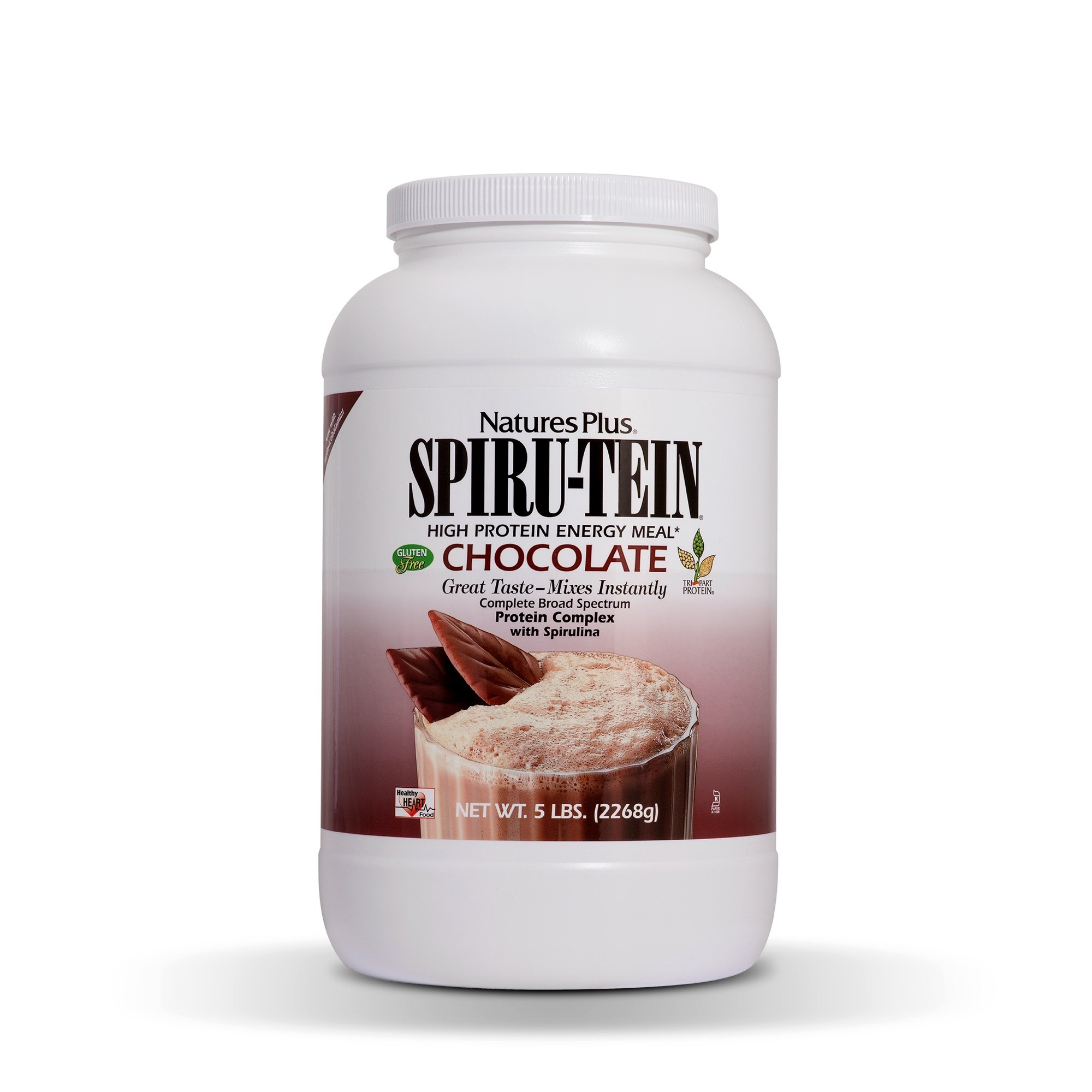 NaturesPlus SPIRU-TEIN Shake - Chocolate - 5 lbs, Spirulina Protein Powder - Plant Based Meal Replacement, Vitamins & Minerals For Energy - Vegetarian, Gluten-Free - 81 Servings by Nature's Plus