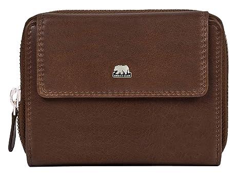 8377d045d61dd Brown Bear Design Geldbörse Damen Leder Braun Tobacco Vintage mit RFID  Schutz Reißverschluss hochwertig